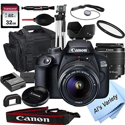 Canon 2000D EOS DSLR Camera with 18-55mm f/3.5-5.6 Zoom Lens + 32GB Card, Tripod, Case, and More (18pc Bundle)