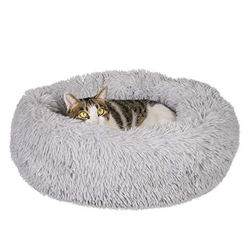 Qucey Donut Fluffy Dog Cat Bed, Soft Faux Fur Donut Cuddler Self-Warming Calming Bed for Small...