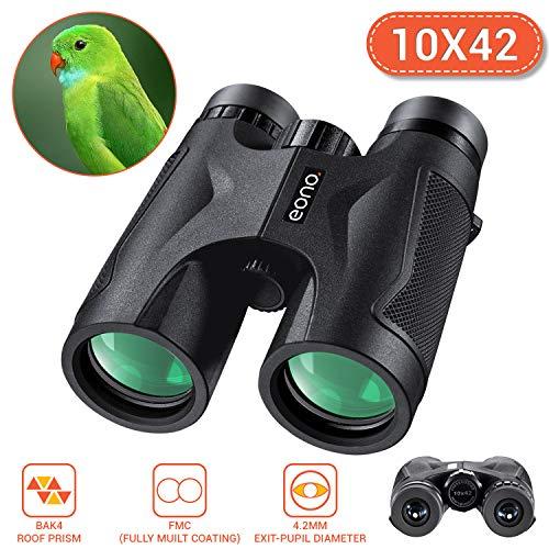 Eono by Amazon - Standard 10x42 | Binocolo BAK4 FMC per adulti, compatto e leggero, per concerti di birdwatching di caccia alla fauna selvatica, con c