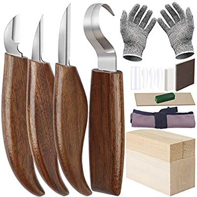 Wood Carving Tools Set,Whittling Knife Kit for Beginners with Chip Carving Knife,Hook Knife,Detail Knife,Roughing Knife Cut Resistant Gloves Basswood Carving Blocks for Spoon Gnome Owl Woodwork