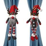 Dongzhur - Juego de 2 alzapaños para cortina de Navidad, diseño de muñeco de dibujos animados de Navidad (gnomo sueco) con hebilla de cierre para ventana, adornos de Navidad, decoración de...