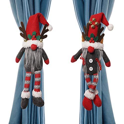 Dongzhur - Juego de 2 alzapaños para cortina de Navidad, diseño de muñeco de dibujos animados de Navidad (gnomo sueco) con hebilla de cierre para ventana, adornos de Navidad, decoración de dormitorio, sala de estar, decoración del hogar