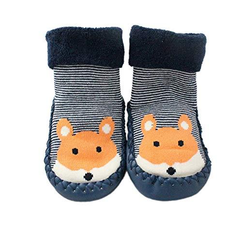 LCH Baby Jungen Mädchen Winter Pantoffel Socken Rutschfeste Blau Gestreift Fuchs 3-24 Monate - Blau, 9-18M
