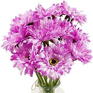 Silk Flower Arrangements FiveSeasonStuff Gerbera Daisy, Outdoor Artificial Silk Flowers Arrangement & Wedding Bouquet (10 Floral Stems, Majestic Purple)