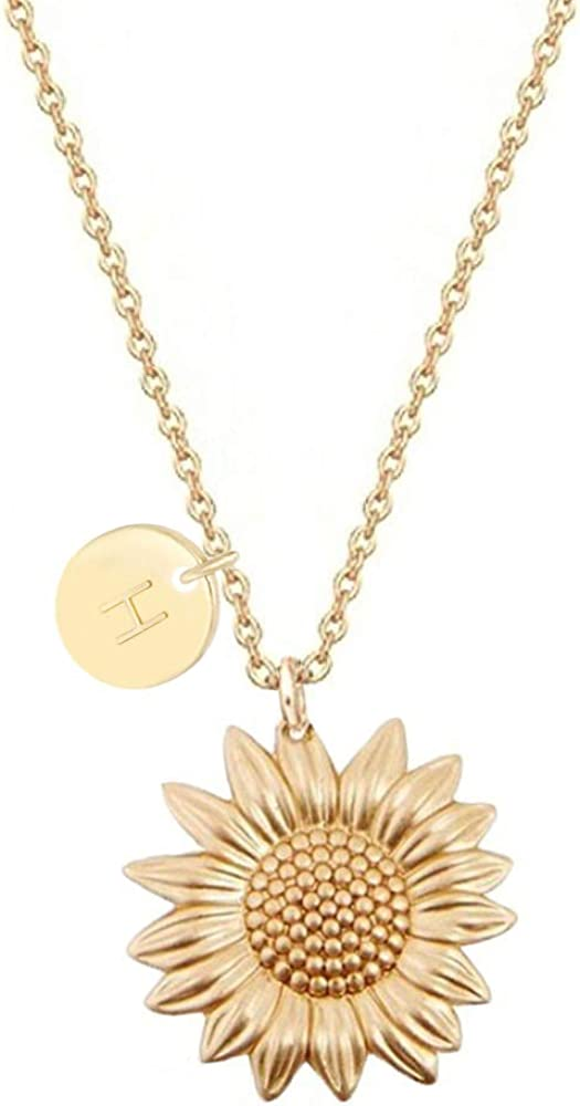 MUYUN Gold Plated Initial Letter Sunflower Necklace A-Z Alphabet Flower Pendant Women Jewelry Gifts