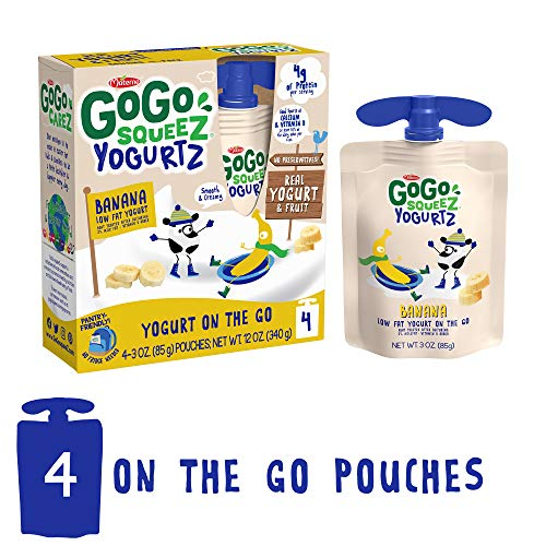 GoGo squeeZ YogurtZ, Banana, 3 Ounce (4 Pouches), Low Fat Yogurt, Gluten Free, Recloseable, BPA Free Pouches (Packaging May Vary)