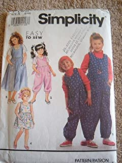 Simplicity Easy to Sew Pattern 7195 Girls Jumpsuit and Jumper or Sundress and Top Size 2-6X