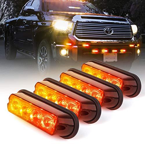 Xprite Red & Amber/Yellow 4 LED Grille Strobe Light Kits Deck Dash Grill Surface Flush Mount Hazard Flashing Side Marker Lights Head for Emergency Vehicle Van Cars SUV ATV RV Trucks Pickup 4PCS