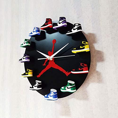 QHTC Reloj De Pared Jordan De 12, Reloj De Mini Zapatillas 3D con 1 A 12 Mini Zapatillas, Decoración del Hogar para Fanáticos De Los Deportes,Negro,1