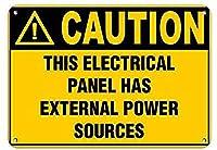 注意この電気パネルには永遠の電源があります壁ブリキサイン金属ポスターレトロプラーク警告サインヴィンテージ鉄の絵画の装飾オフィスの寝室のリビングルームクラブのための面白いハンギングクラフト