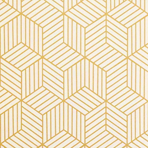 "Gold and Beige Geometry Stripped Hexagon Peel and Stick Wallpaper Gold Stripes Wallpaper Luxury Contact Paper Removable Self Adhesive Vinyl Film Decorative Shelf Drawer Liner Roll78.7""x17.7"""