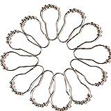 12pcs granos de la manera cortina de ducha de la bola de rodillo Anillos de deslizamiento de baño gancho de la cortina