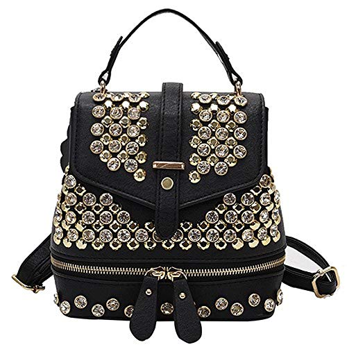 Estilo preppy pu cuero mujeres moda diamantes hombro bolsa para niñas casual viaje mujeres escuela mochila
