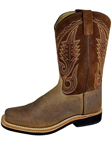 Smoky Men's Brown Distress Leather Square Toe Boot Crepe Sole Western Boots