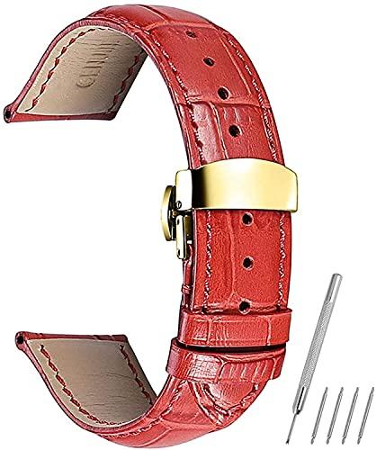 PINGZG Watchands 14mm-24mm Correa de Cuero de la Correa de Reloj de la Banda de la Banda de la Banda de la Banda de la Mariposa Accesorios de Reloj de liberación rápida (Color : Red, Size : 24mm)