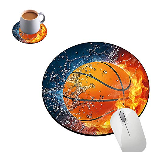 Round Mouse Pad and Coasters Set, Hot Basketball Mousepad, Non-Slip Rubber Round Gaming Mouse Pad, Customized Mouse Mat for Home Office Business Gaming