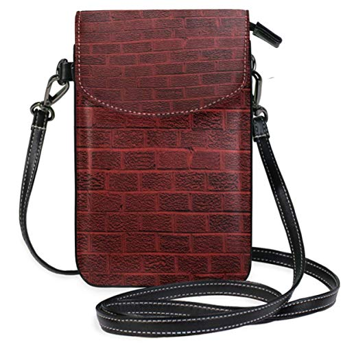 XCNGG Sac pour téléphone portable Dark Red Brick Wall Cell Phone Purse Wallet for Women Girl Small Crossbody Purse Bags