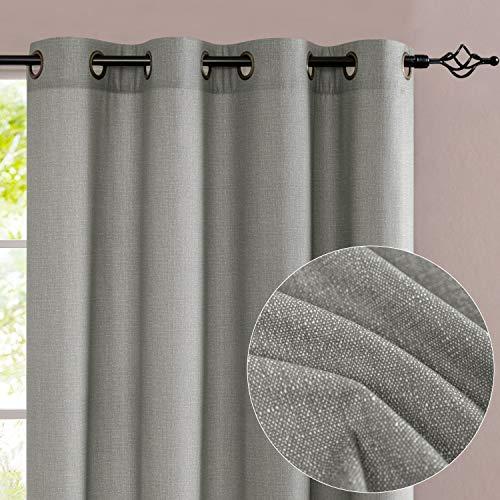jinchan Window Curtains for Bedroom Living Room Linen Textured Microfiber Drapes Grommet Top 1 Pair 95 inch Length Dove Grey