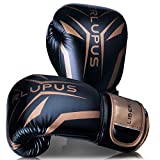 Liberlupus Cool Style Boxing Gloves for Men & Women, Boxing Training Gloves, Kickboxing Gloves, Sparring Gloves, Heavy Bag Gloves for Boxing, Kickboxing, Muay Thai, MMA(Black & Golden, 12 oz