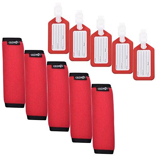 COSMOS ® 5 Stück Komfort-Neopren-Griffband/Griff/Kennzeichnung für Reisetasche, Gepäck, Koffer + 5 Stück Reisezubehör, Gepäckanhänger-Identifizierung (rot)