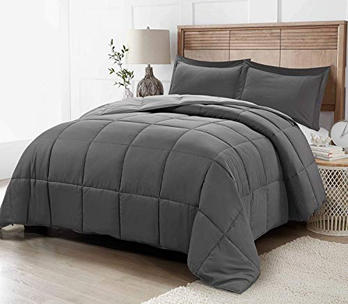 Bedding Down Alternative Comforter - All Season Blanket - Super Soft Fiberfill Duvet Insert - Box Stitched (Grey, Tiwn Exl)