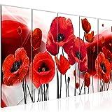 Runa Art Wandbild XXL Blumen Mohnblumen 200 x 80 cm Rot 5 Teilig - Made in Germany - 208955a