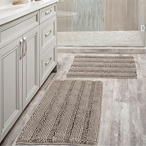 Non Slip Thick Shaggy Chenille Bathroom Rugs Soft Bath Mats for Bathroom Extra Absorbent Floor Mats Bath Rugs Set for Kitchen/Living Room (Set of 2, 20' x 32'/17' x 24', Taupe)