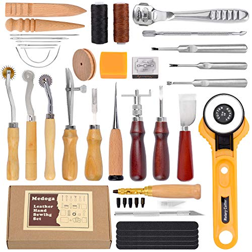 18 piezas de hilo encerado con agujas de coser a mano y punzón de perforación 150D 1 mm cable de costura manual para manualidades de cuero 37pcs Leather Sewing Tools