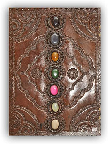Genuine Leather Art Leather Journal Seven Chakra Medieval Stone Embossed Handmade Book of Shadows Notebook Office Diary College Book Poetry Book Sketch Book 10 x 13 Inches