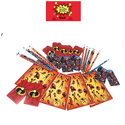 Incredibles Party Favors for Kids Birthday, Set of 12- Includes Pencils, Mini Notebooks, Incredibles Stickers and 1 Birthday Sticker by JPMD
