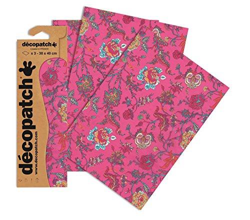 Decopatch Papier No. 711 (pink Grün Blumenranke, 395 x 298 mm) 3er Pack