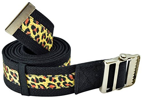 Cinturón de seguridad para transferencia y caminata con hebilla de metal y soporte para cinturón para cuidador, enfermera, terapeuta, etc, Estampado leopardo, 72 x 2 Inch, Negro/Estampado Leopardo, 1