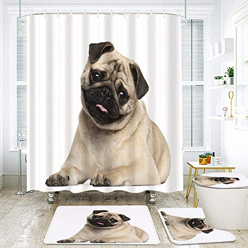 KENADVI 4 Pcs Shower Curtain Sets with Non-Slip Rug,Toilet Lid Cover and Bath Mat,Nine Months Old Pug Puppy Lying Around Cute Pet Funny Animal Domestication,Waterproof Shower Curtains with 12 Hooks