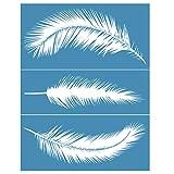 XuHangFF - Plantilla de impresión de pantalla de seda autoadhesiva, diseño de plumas, para manualidades, camiseta y pintura textil