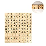 100 PCS Wood Scrabble Tiles Numbers and Symbols for Crafts - DIY Wood Gift Decoration-Child Education Mathematical Calculation