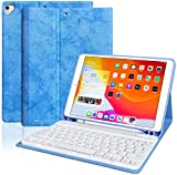 iPad 10.2 7th Generation 2019 Keyboard Case, Wireless Detachable BT Keyboard with Pencil