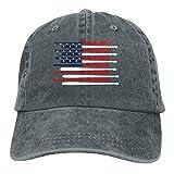 Baseball Bats In The USA Flag Trend Printing Cowboy Hat Fashion Baseball Cap For Men and Women Black