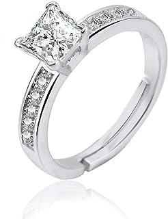 Lozse Anelli regolabili Intarsiati zircone quadrato aperto anello argento anello anti-allergia compleanno regalo Invia ami...