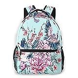 Laptop Rucksack Schulrucksack Crane Pink Flower 19, 14 Zoll Reise Daypack Wasserdicht für Arbeit Business Schule Männer Frauen