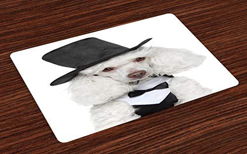 ABAKUHAUS honden Placemat Set van 4, Het droevige Kijken Portret in een Hoed, Wasbare Stoffen Placemat voor Eettafel, Dark Grey White
