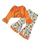Dasongff Ensemble de Vêtements Deux Pièces pour Bébé Filles, Haut à Manches Trompette + Pantalon Trompette Imprimé Citrouille pour Automne