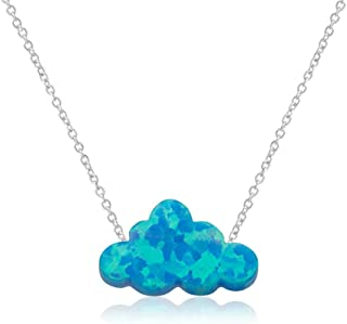 Sponsored Ad - HUTINICE Small White Opal Cloud Necklace, Created Opal Choker Necklaces for Women Girl Baby Jewelry…