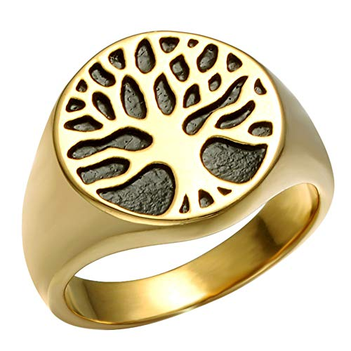YABEME Men Viking Ring, Vintage Cool Stainless Steel Norse Yggdrasil Tree Amulet Gothic Punk Rock Band Jewelry, Anniversary Wedding Cocktail Party Gift,10