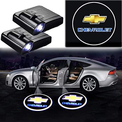 Autotür Willkommenslicht 2 Stück LED-Projektions-Lampen-Schatten-Geist-Lampe, Wireless Tür-Willkommens-Etikette helle Zeichen, passend for alle Modelle (Color : FOR CHEVROLET)
