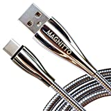 USB C Cable, Metal Braided Cord, Fast Type C Charger Premium Durable MAGNITTO USB A to USB C Charging Cable for Samsung Galaxy S21 S20+ S10 S9 S8 Plus A51 A11 PS5 Controller Note 10 LG Google Pixel