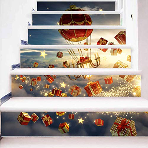 Christmas theme home decoration staircase sticker 3D Santa Claus combo pattern self-adhesive paper