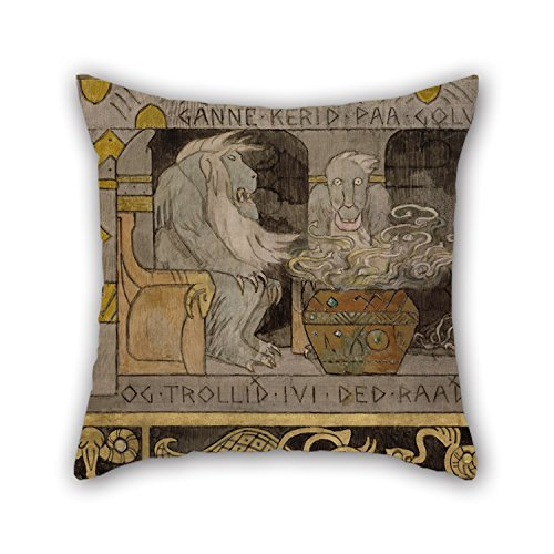 Artistdecor Oil Painting Gerhard Munthe - The Second Hall Christmas Pillow Covers 16 X 16 Inches / 40 By 40 Cm Best Choice For Indoor Home Wedding Adults Saloon Home Theater With 2 Sides