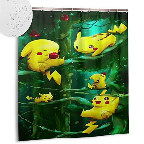 DRAGON VINES Cortina de ducha 72 x 72 pulgadas (183 x 183 cm) impermeable tela pesada cortina de ducha Pokemo Pikachu(B00060