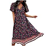 Janly Clearance Sale Women's Dress , Spring and Summer Woman's V-collar Printed Belt Long-style Short-sleeved Dress , for Holiday Summer (Blue-L