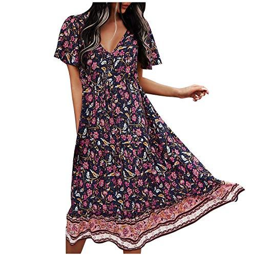 Janly Clearance Sale Vestido de mujer Primavera y Verano con cuello en V y cinturón estampado de manga larga, vestido de verano para día festivo (Azul-XL